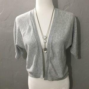 A NEW DAY Grey w/Metallic Silver thread Cardigan